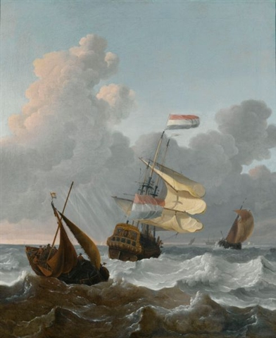 Wigerus_Vitringa_-_Man_of_War_and_smaller_ships_in_rough_seas